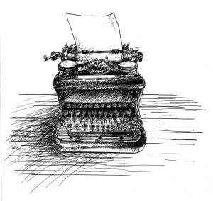 drawing of a typewriter