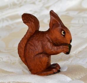 a wooden squirrel
