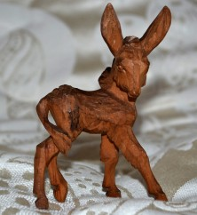 carved wooden donkey
